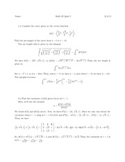 Math 023 spring 2014 Quiz_3_Solutions (Arclength)