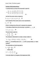 Lecture 3 Notes The Motion Equation