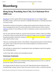 Bloomberg Article 2014.9.12 HK Watchdog Sues Citic, Ex-Chairman Over 2008 Loss