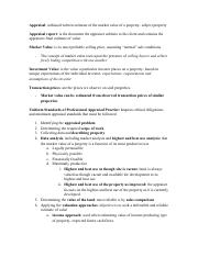 REAL 370 - Principles of Real Estate - Appraisal Notes