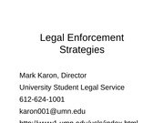 Legal Enforcement Strategies Mark Karon spring 12-1