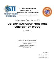 (determination of moisture content of wood)CEPS 411