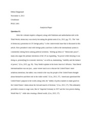 global issues essay elise riquier pols the democratic  6 pages gi aalytical paper