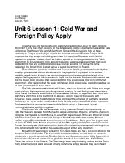 Unit 6 Lesson 1 Cold War and Foreign Policy Apply