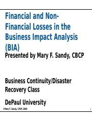 Financial and Non-Financial Losses in the Business Impact Analysis (BIA)