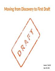 Session 7 Moving from Discovery to First Draft