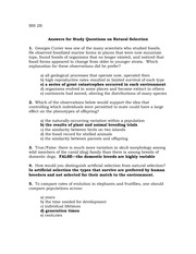 Answers for Study Questions on Natural selection F09.doc