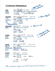 Statistics 2858B Class Notes Some discrete and continuous distributions