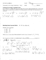 6_4 Classwork - Factoring Polynomials - Day 2 - Answer Key