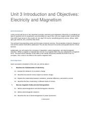 PHY120_U3_Introduction and Objectives_Electricity and Magnetism.docx