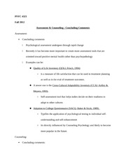 PSYC 4321 Notes on Concluding Comments