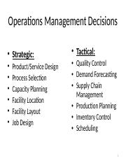 Operations Management Decisions 2