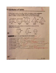 Attributes of Solids Worksheet MATH 122