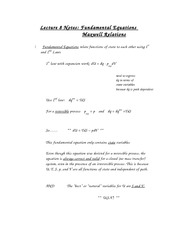 Lecture 8 Notes Fundamental Equations