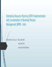 Enterprise resource planning implementation (ERP) with