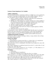 Systems of Linear Equations in Two Variables Notes