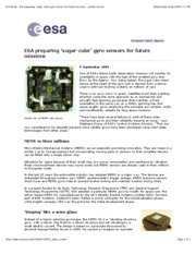 3_1_ESA Portal - ESA preparing �sugar-cube� gyro sensors for future missions