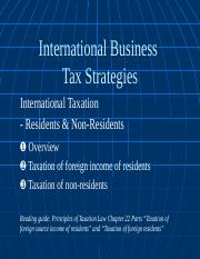 International Tax - Residents and Non-residents(3)