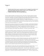 Tugas 2 Bahasa Indonesia Pdf Tugas 2 Buatlah Artikel Ilmiah Populer Yang Berisi Lima 5 Paragraf Isi Penelitian Kecil Yang Terkait Dengan Generasi Course Hero