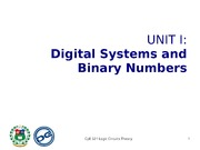 Unit I Digital Systems and Binary Numbers