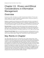 Chapter 13-Privacy and Ethical Considerations in Information Management