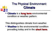 Ecology Physical Environment and Climate