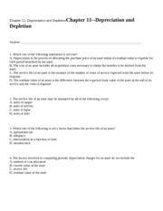Chapter 11--Depreciation an