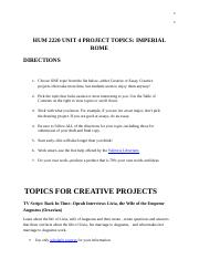HUM 2220 UNIT 4 PROJECT TOPICS.rtf