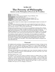 Poverty-Philosophy