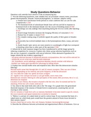 EEB100 Behavior Study Questions
