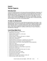 Unit 6 Vector Spaces