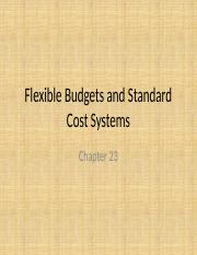 Chapter 23 -Flexible Budgets and Standard Cost Systems