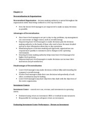 Accounting II Chapter 11 (Decentralized Organizations) Study Notes