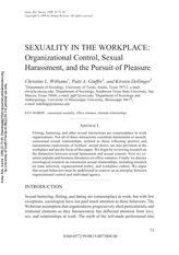 SEXUALITY IN THE WORKPLACE Organizational Control, Sexual Harassment, and the Pursuit of Pleasure