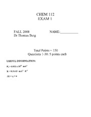 CHEM 112 Practice Exams (Various)
