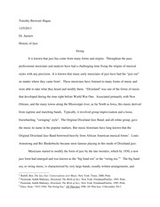 History of Jazz Final Paper