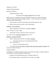 Chemistry 122:Chapter 20 Electrochemistry Recall from Chapter 4