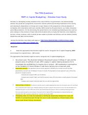 Case Study Capital Budgeting Assignment Details 1