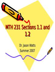 MTH 231 Sections 1.1 and 1.2.ppt