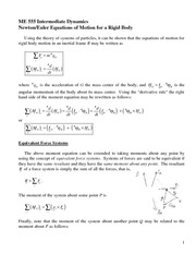 NewtonEuler Equations of Motion Review