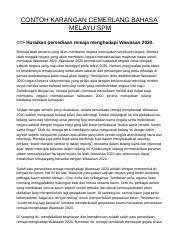 74755419 Contoh Karangan Cemerlang Bahasa Melayu Spm 3 Docx Contoh Karangan Cemerlang Bahasa Melayu Spm Huraikan Persediaan Remaja Menghadapi Course Hero