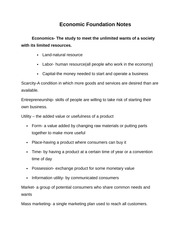 Economic Foundation Notes