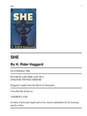She by raddar hagard