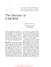 The Political and Social Doctrine of Fascism