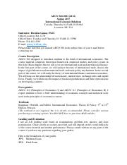 AECO 360_Syllabus_Internat Econ Relations