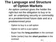 The Language and Structure of Option Markets