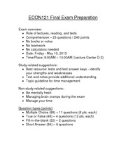 Trade restrictions Final Exam Study Guide Overview (Spring2013)