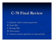 C-70 Final Review