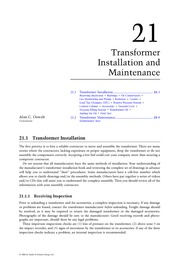 Chapter 21. Transformer Installation and Maintenance