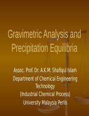 Lecture 4 - Gravimetric Analysis and Precipitation Equilibria.pptx